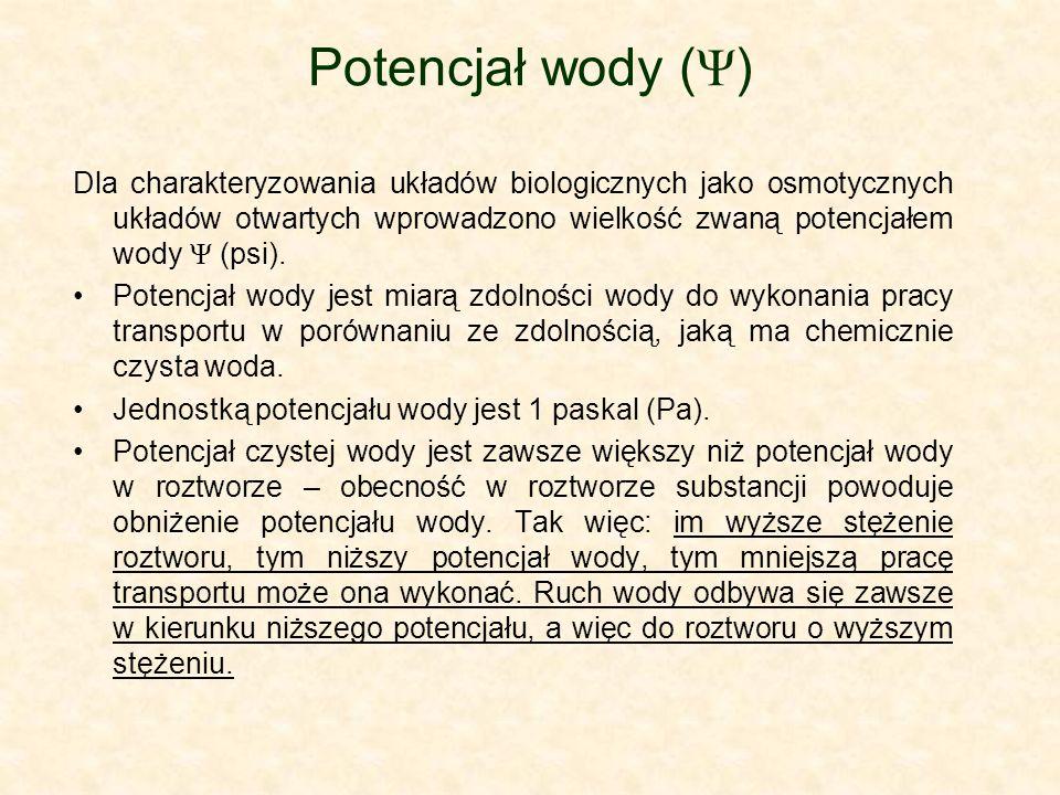 Potencjał wody ( Ψ ) Dla charakteryzowania układów biologicznych jako osmotycznych układów otwartych wprowadzono wielkość zwaną potencjałem wody Ψ (ps