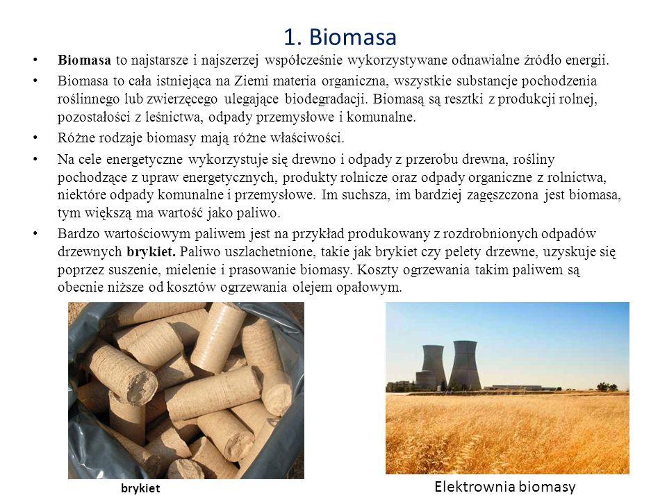 1. Biomasa Biomasa to najstarsze i najszerzej współcześnie wykorzystywane odnawialne źródło energii. Biomasa to cała istniejąca na Ziemi materia organ