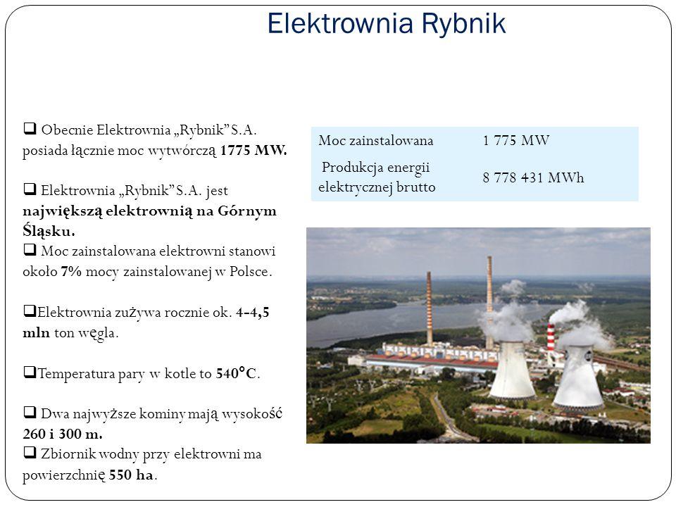 Elektrownia Rybnik Moc zainstalowana1 775 MW Produkcja energii elektrycznej brutto 8 778 431 MWh Obecnie Elektrownia Rybnik S.A. posiada ł ą cznie moc