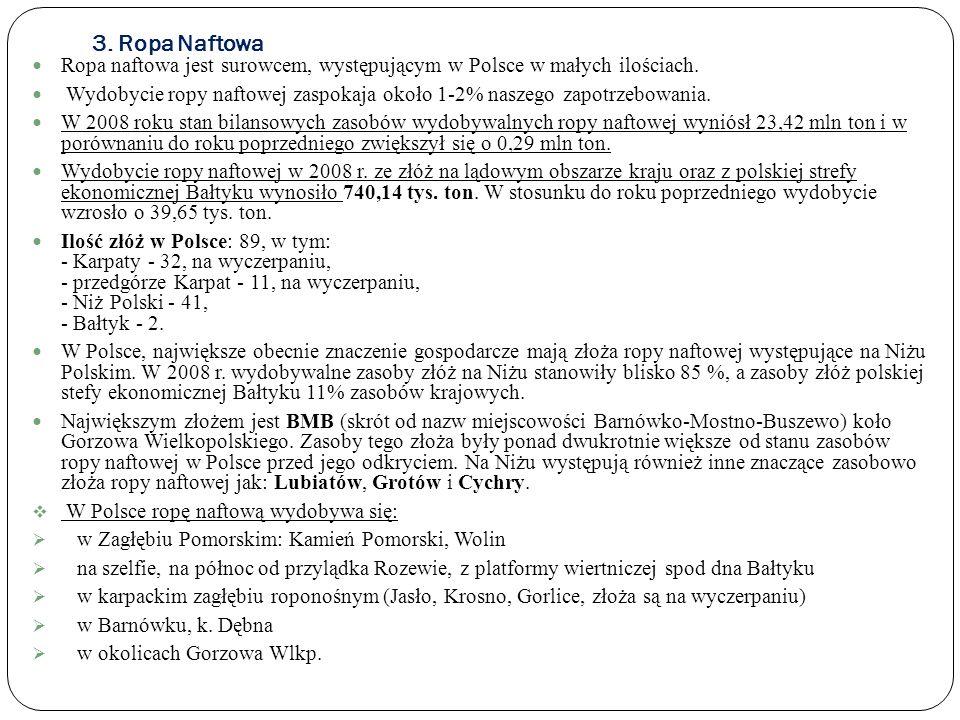 3. Ropa Naftowa Ropa naftowa jest surowcem, występującym w Polsce w małych ilościach. Wydobycie ropy naftowej zaspokaja około 1-2% naszego zapotrzebow