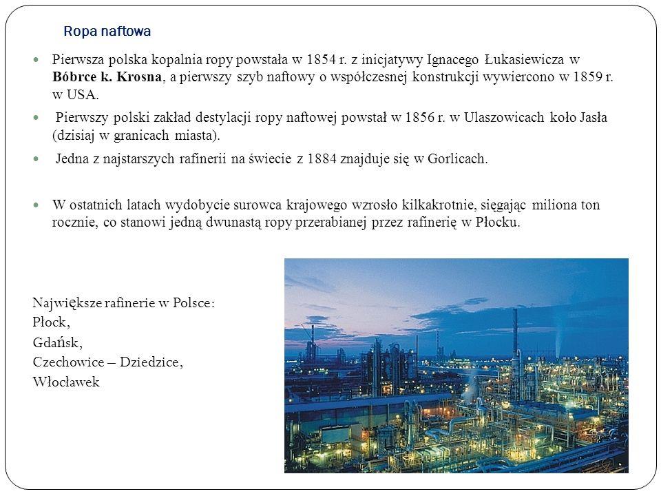 Ropa naftowa Pierwsza polska kopalnia ropy powstała w 1854 r. z inicjatywy Ignacego Łukasiewicza w Bóbrce k. Krosna, a pierwszy szyb naftowy o współcz