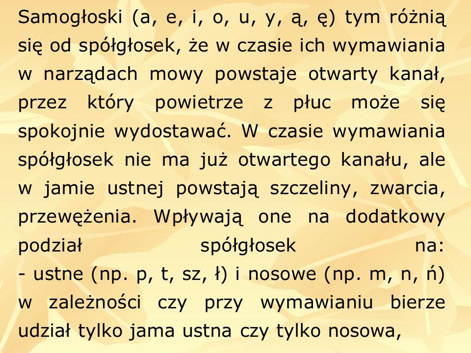 Samogłoski (a, e, i, o, u, y, ą, ę) tym różnią się od spółgłosek, że w czasie ich wymawiania w narządach mowy powstaje otwarty kanał, przez który powi