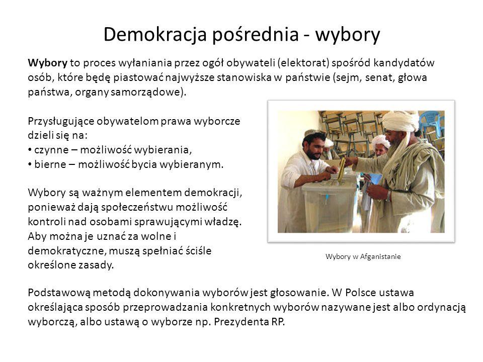 Demokracja pośrednia - wybory Wybory to proces wyłaniania przez ogół obywateli (elektorat) spośród kandydatów osób, które będę piastować najwyższe sta