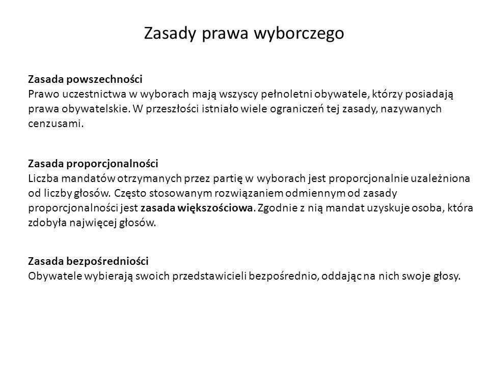 Zasady prawa wyborczego Zasada powszechności Prawo uczestnictwa w wyborach mają wszyscy pełnoletni obywatele, którzy posiadają prawa obywatelskie. W p