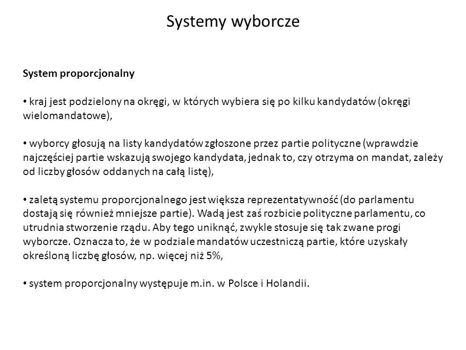 Systemy wyborcze System proporcjonalny kraj jest podzielony na okręgi, w których wybiera się po kilku kandydatów (okręgi wielomandatowe), wyborcy głos