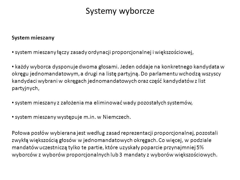 Systemy wyborcze System mieszany system mieszany łączy zasady ordynacji proporcjonalnej i większościowej, każdy wyborca dysponuje dwoma głosami. Jeden