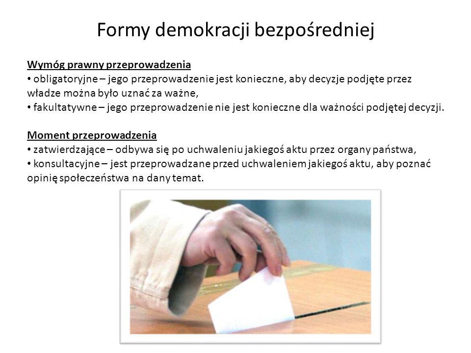 Formy demokracji bezpośredniej Inicjatywa ludowa to prawo części obywateli do zgłoszenia własnych propozycji zmian w prawie.