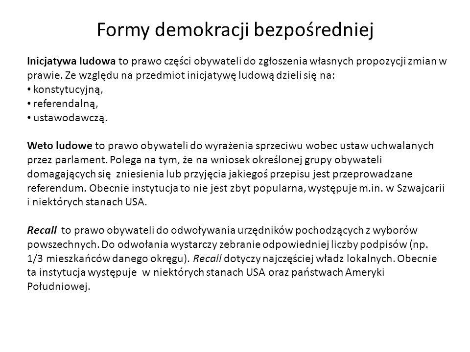 Formy demokracji bezpośredniej Plebiscyt jest definiowany bardzo różnie.