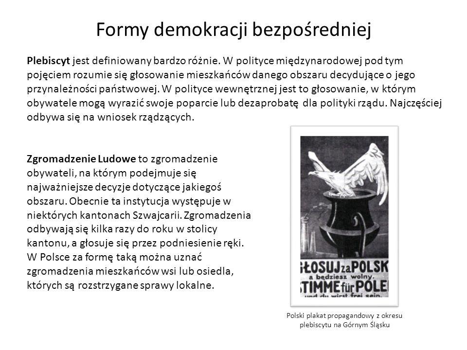 Formy demokracji bezpośredniej Plebiscyt jest definiowany bardzo różnie. W polityce międzynarodowej pod tym pojęciem rozumie się głosowanie mieszkańcó
