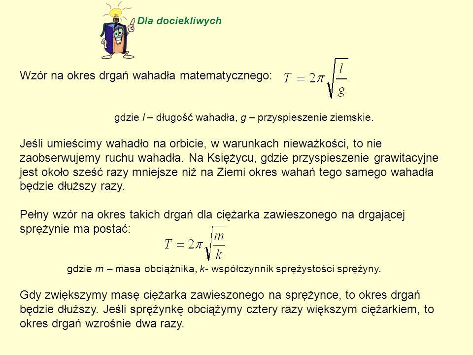 Wzór na okres drgań wahadła matematycznego: gdzie l – długość wahadła, g – przyspieszenie ziemskie. Jeśli umieścimy wahadło na orbicie, w warunkach ni