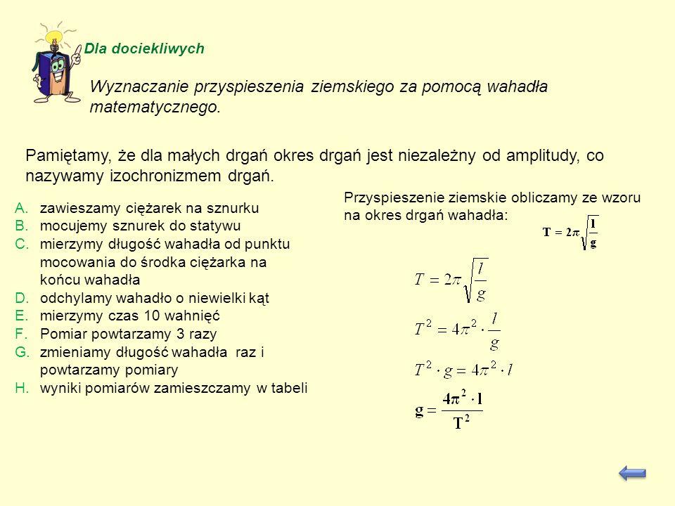 Wyznaczanie przyspieszenia ziemskiego za pomocą wahadła matematycznego.