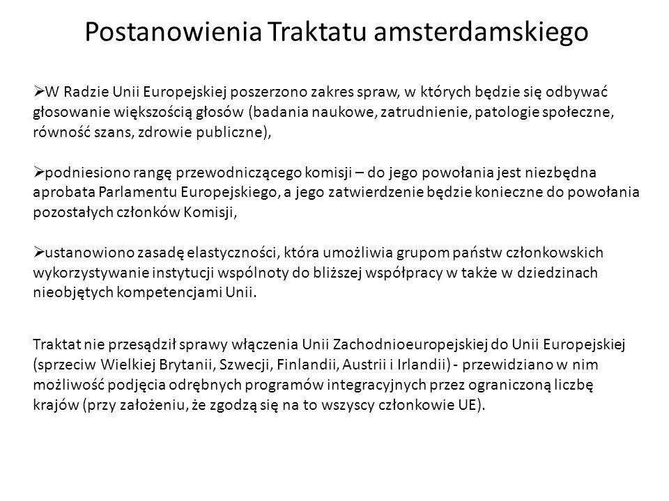 Postanowienia Traktatu amsterdamskiego W Radzie Unii Europejskiej poszerzono zakres spraw, w których będzie się odbywać głosowanie większością głosów