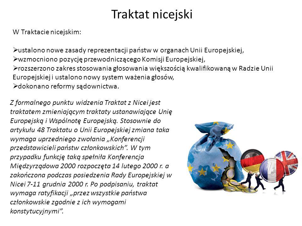 W Traktacie nicejskim: ustalono nowe zasady reprezentacji państw w organach Unii Europejskiej, wzmocniono pozycję przewodniczącego Komisji Europejskie