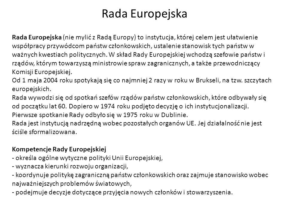 Rada Europejska Rada Europejska (nie mylić z Radą Europy) to instytucja, której celem jest ułatwienie współpracy przywódcom państw członkowskich, usta