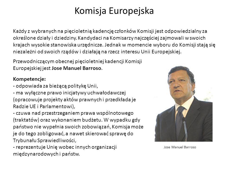 Komisja Europejska Każdy z wybranych na pięcioletnią kadencję członków Komisji jest odpowiedzialny za określone działy i dziedziny. Kandydaci na Komis