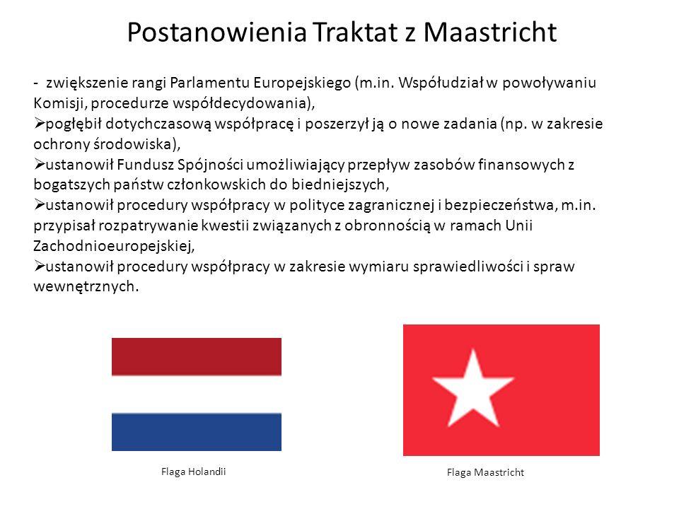 Postanowienia Traktat z Maastricht - zwiększenie rangi Parlamentu Europejskiego (m.in. Współudział w powoływaniu Komisji, procedurze współdecydowania)