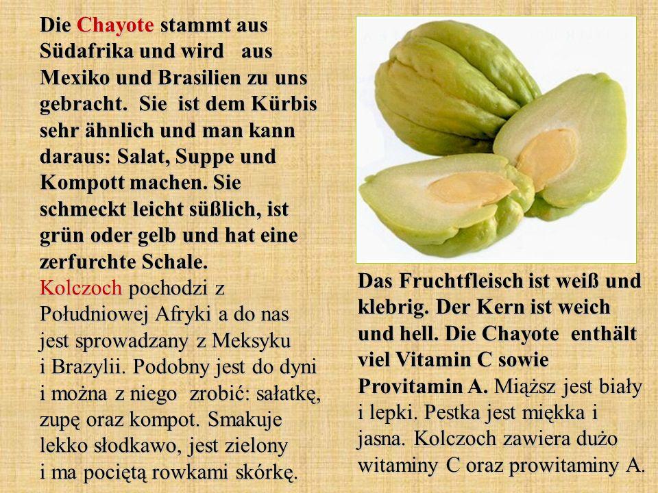 Die Chayote stammt aus Südafrika und wird aus Mexiko und Brasilien zu uns gebracht. Sie ist dem Kürbis sehr ähnlich und man kann daraus: Salat, Suppe