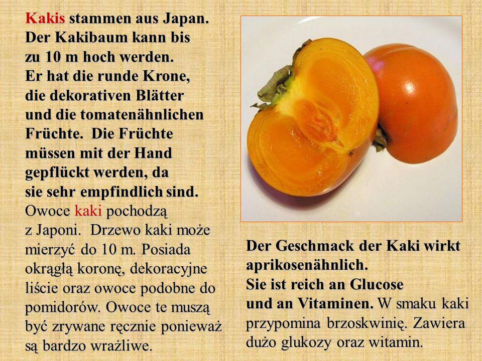 Kakis stammen aus Japan. Der Kakibaum kann bis zu 10 m hoch werden. Er hat die runde Krone, die dekorativen Blätter und die tomatenähnlichen Früchte.