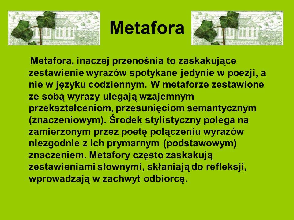Metafora Metafora, inaczej przenośnia to zaskakujące zestawienie wyrazów spotykane jedynie w poezji, a nie w języku codziennym. W metaforze zestawione