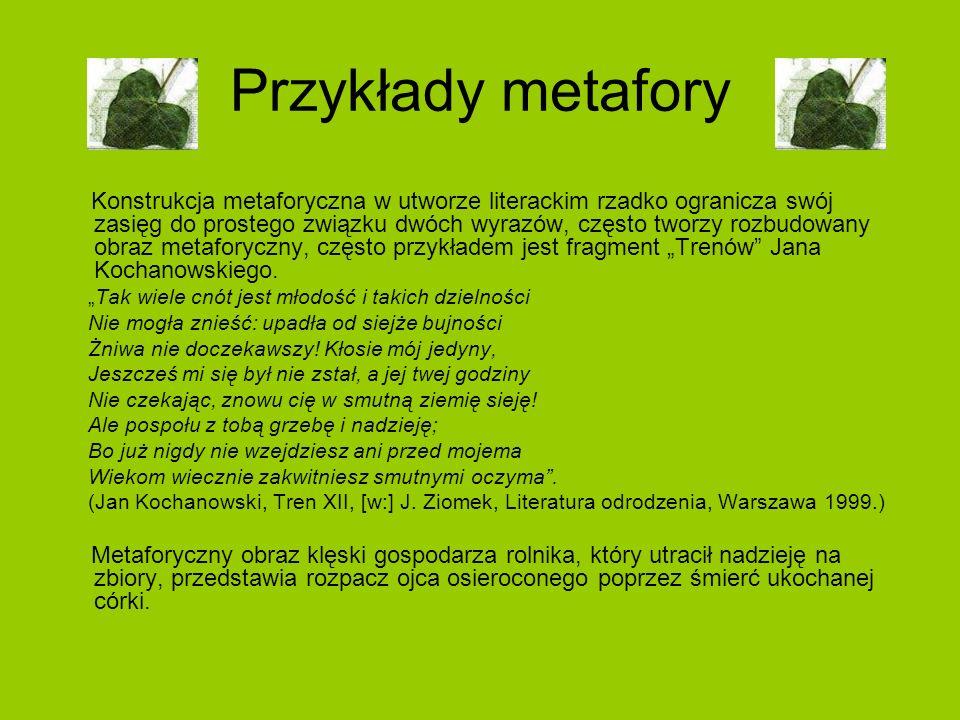 Przykłady metafory Konstrukcja metaforyczna w utworze literackim rzadko ogranicza swój zasięg do prostego związku dwóch wyrazów, często tworzy rozbudo