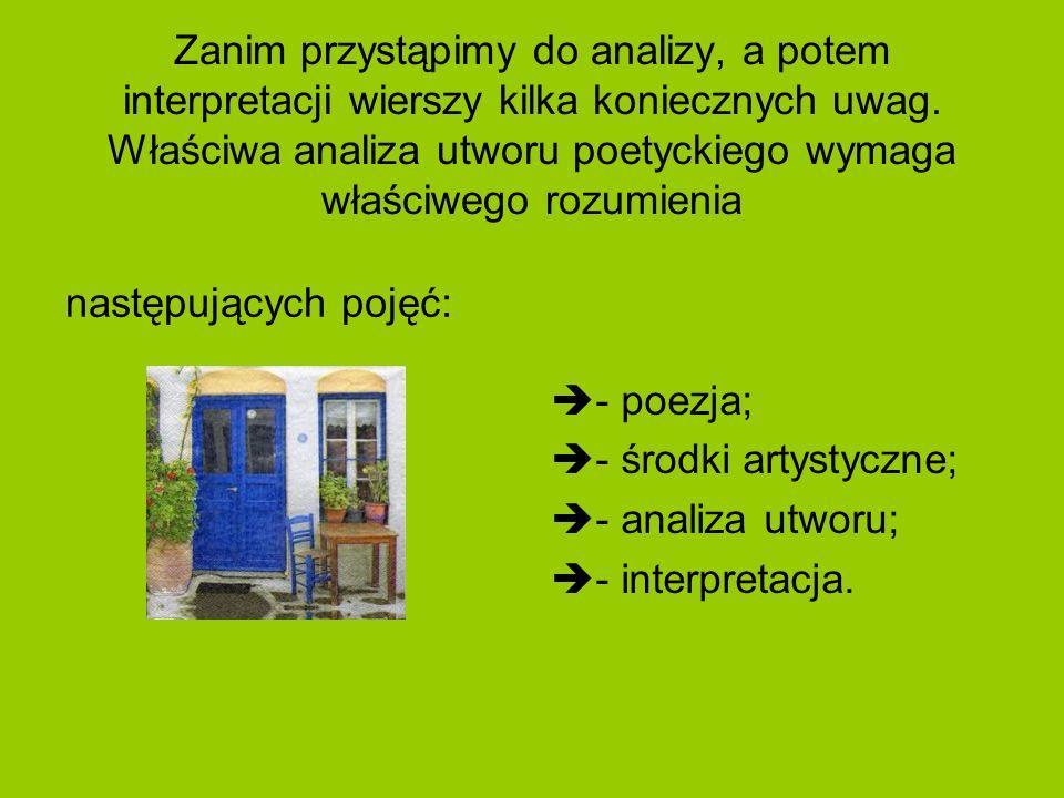 Zanim przystąpimy do analizy, a potem interpretacji wierszy kilka koniecznych uwag. Właściwa analiza utworu poetyckiego wymaga właściwego rozumienia n