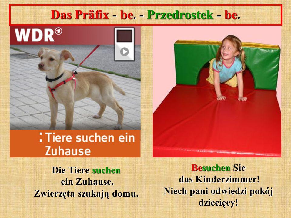 Das Präfix - be. - Przedrostek - be. Besuchen Sie das Kinderzimmer! Niech pani odwiedzi pokój dziecięcy! Die Tiere suchen ein Zuhause. Zwierzęta szuka