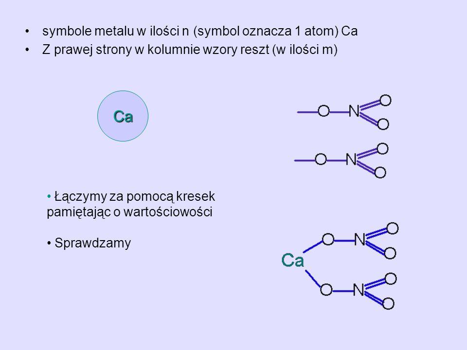 symbole metalu w ilości n (symbol oznacza 1 atom) Ca Z prawej strony w kolumnie wzory reszt (w ilości m) Ca Łączymy za pomocą kresek pamiętając o wart