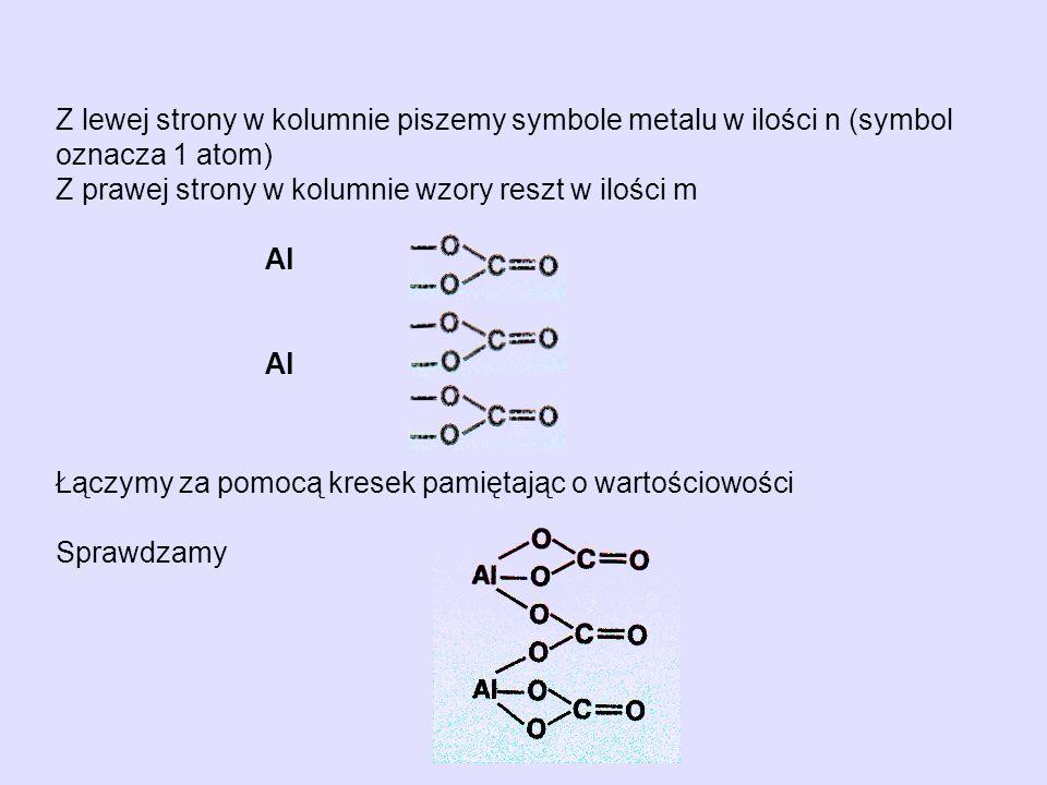 Z lewej strony w kolumnie piszemy symbole metalu w ilości n (symbol oznacza 1 atom) Z prawej strony w kolumnie wzory reszt w ilości m Al Łączymy za po