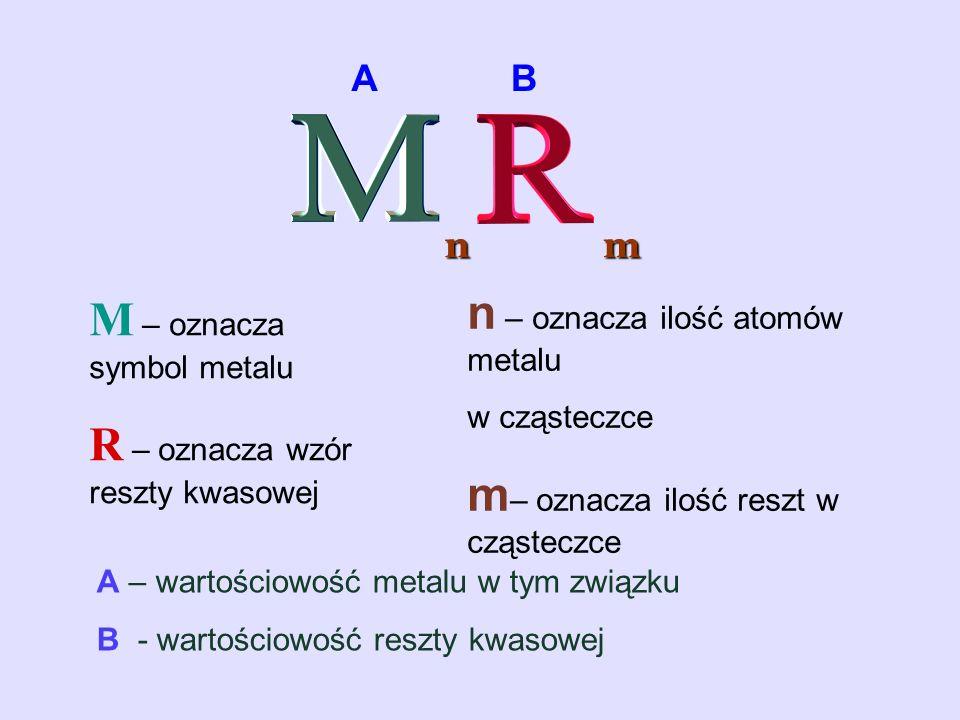 ABnm M – oznacza symbol metalu R – oznacza wzór reszty kwasowej n – oznacza ilość atomów metalu w cząsteczce m – oznacza ilość reszt w cząsteczce A –