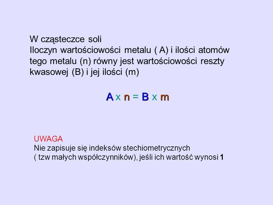 W cząsteczce soli Iloczyn wartościowości metalu ( A) i ilości atomów tego metalu (n) równy jest wartościowości reszty kwasowej (B) i jej ilości (m) An