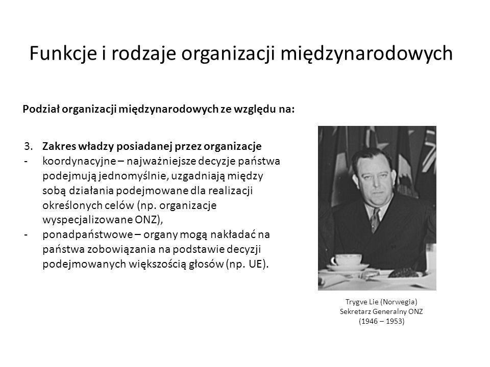 Funkcje i rodzaje organizacji międzynarodowych 3.Zakres władzy posiadanej przez organizacje -koordynacyjne – najważniejsze decyzje państwa podejmują j