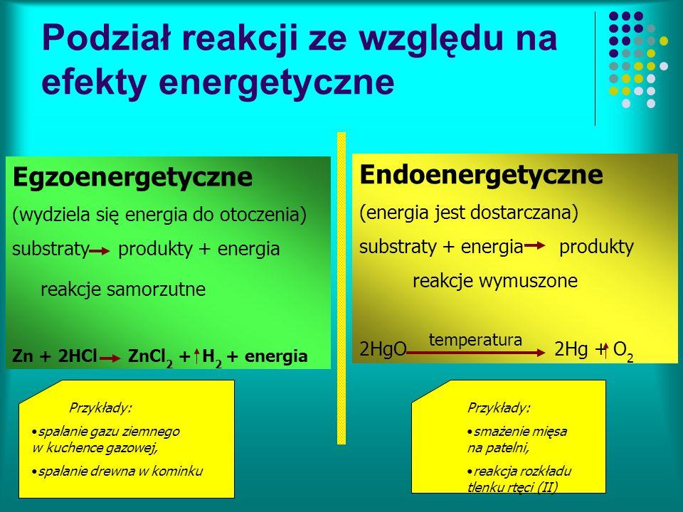 Podział reakcji ze względu na efekty energetyczne Egzoenergetyczne (wydziela się energia do otoczenia) substraty produkty + energia reakcje samorzutne Zn + 2HCl ZnCl 2 + H 2 + energia Endoenergetyczne (energia jest dostarczana) substraty + energia produkty reakcje wymuszone 2HgO 2Hg + O 2 temperatura Przykłady: spalanie gazu ziemnego w kuchence gazowej, spalanie drewna w kominku Przykłady: smażenie mięsa na patelni, reakcja rozkładu tlenku rtęci (II)
