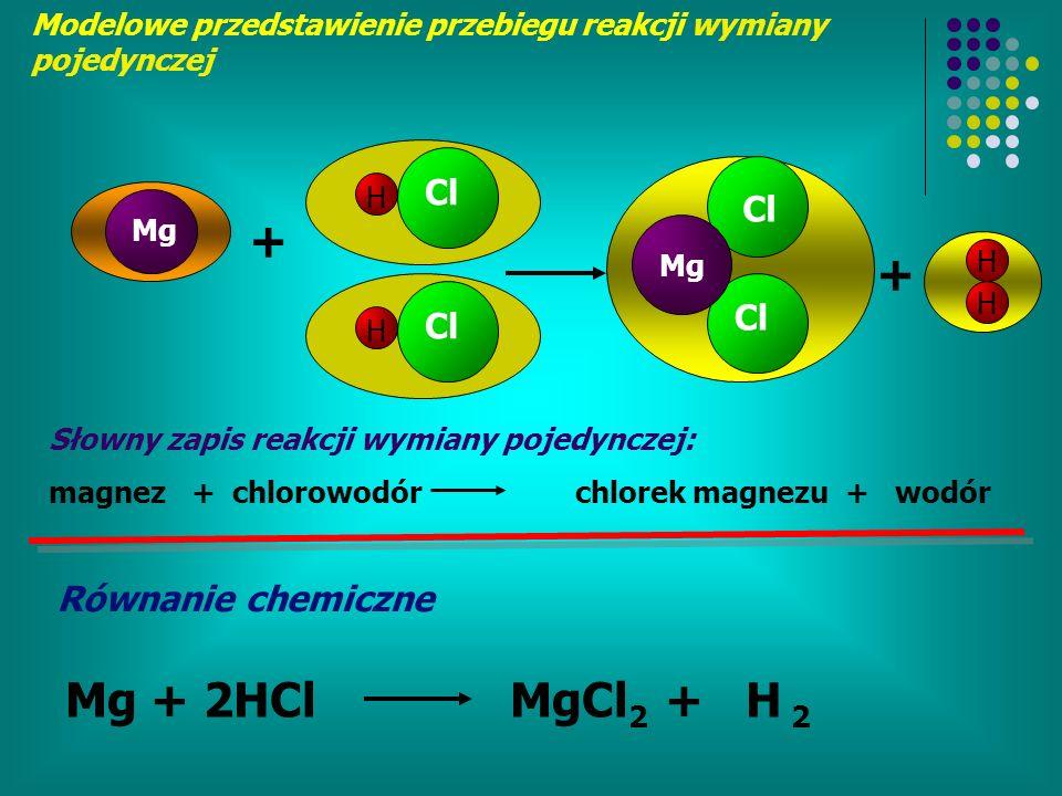 H Cl Mg + H Cl Mg H H + Modelowe przedstawienie przebiegu reakcji wymiany pojedynczej Równanie chemiczne Słowny zapis reakcji wymiany pojedynczej: magnez + chlorowodór chlorek magnezu + wodór Mg + 2HCl MgCl 2 + H 2