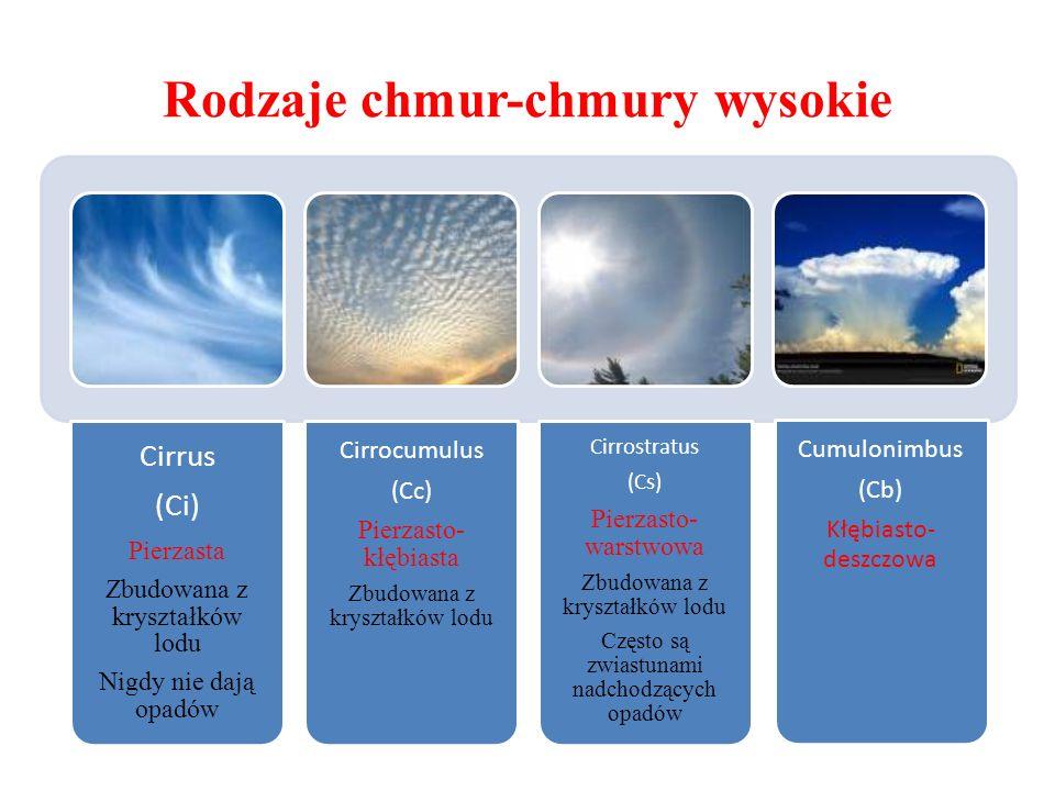 Rodzaje chmur-chmury wysokie Cirrus (Ci) Pierzasta Zbudowana z kryształków lodu Nigdy nie dają opadów Cirrocumulus (Cc) Pierzasto- kłębiasta Zbudowana