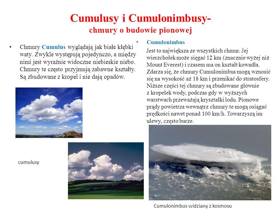 Cumulusy i Cumulonimbusy- chmury o budowie pionowej Chmury Cumulus wyglądają jak białe kłębki waty. Zwykle występują pojedynczo, a między nimi jest wy