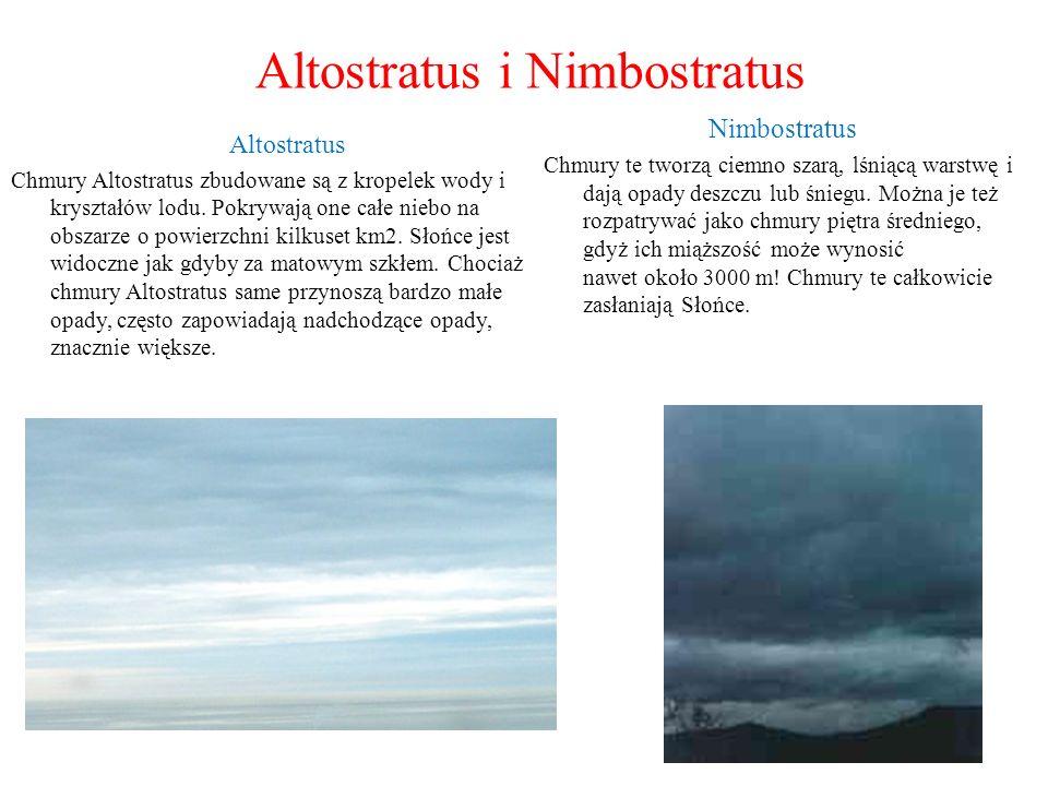 Altostratus i Nimbostratus Altostratus Chmury Altostratus zbudowane są z kropelek wody i kryształów lodu. Pokrywają one całe niebo na obszarze o powie