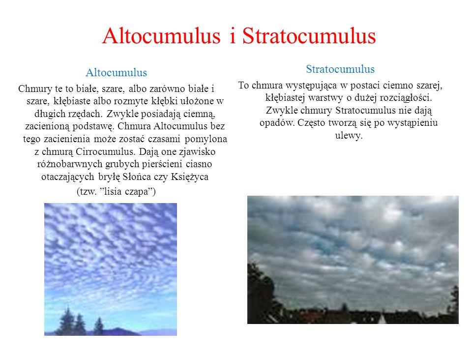 Altocumulus i Stratocumulus Altocumulus Chmury te to białe, szare, albo zarówno białe i szare, kłębiaste albo rozmyte kłębki ułożone w długich rzędach