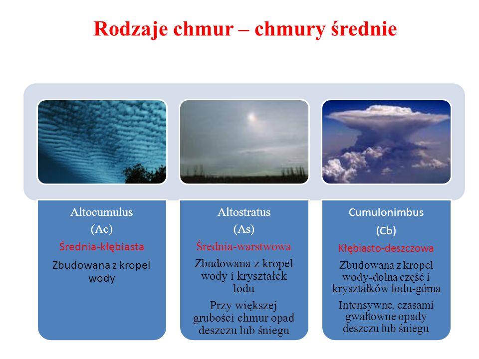 Rodzaje chmur – chmury średnie Altocumulus (Ac) Średnia-kłębiasta Zbudowana z kropel wody Altostratus (As) Średnia-warstwowa Zbudowana z kropel wody i