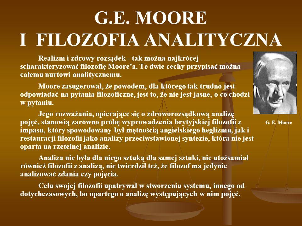 BIBLIOGRAFIA Moore G.E., Z głównych zagadnień filozofii, Warszawa 1967.