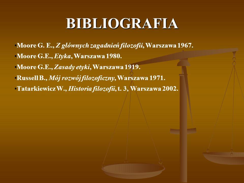 BIBLIOGRAFIA Moore G. E., Z głównych zagadnień filozofii, Warszawa 1967.