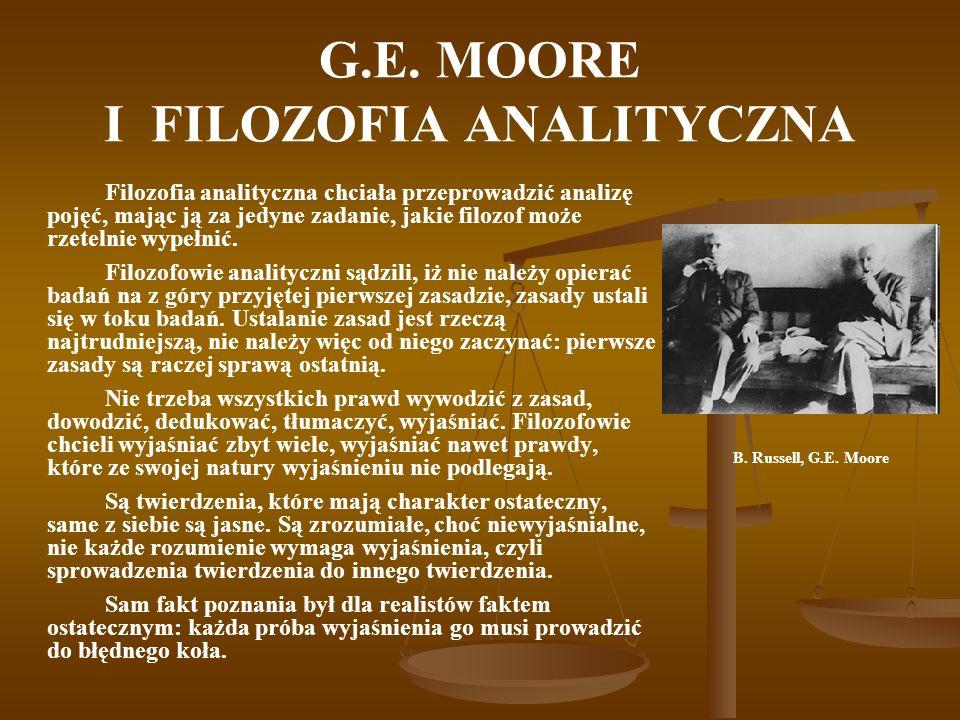 G.E. MOORE I FILOZOFIA ANALITYCZNA Filozofia analityczna chciała przeprowadzić analizę pojęć, mając ją za jedyne zadanie, jakie filozof może rzetelnie