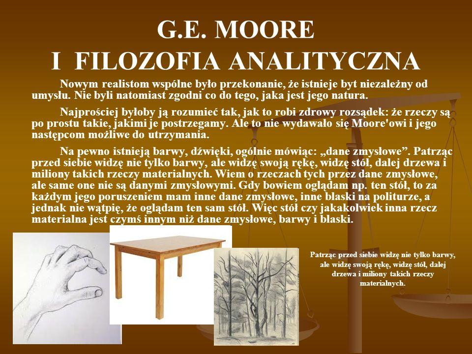 G.E.MOORE I FILOZOFIA ANALITYCZNA Jaki jest stosunek rzeczy materialnych do danych zmysłowych.