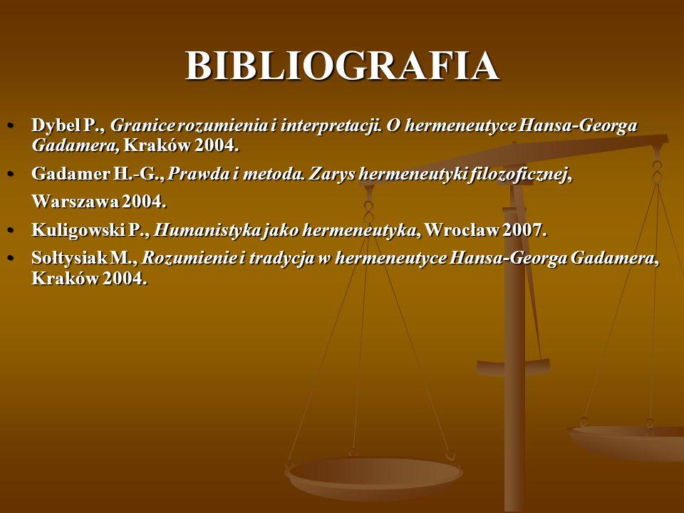 BIBLIOGRAFIA Dybel P., Granice rozumienia i interpretacji. O hermeneutyce Hansa-Georga Gadamera, Kraków 2004.Dybel P., Granice rozumienia i interpreta