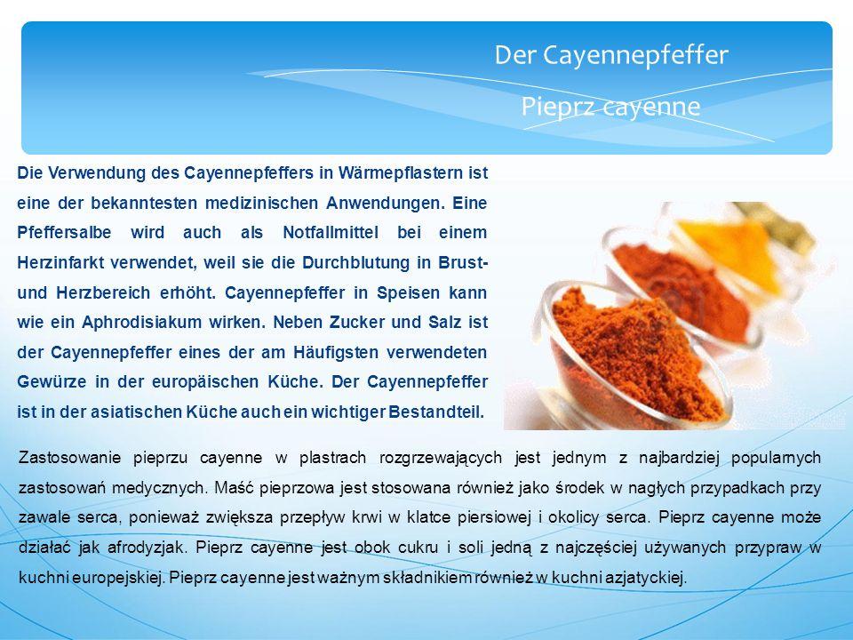 Der Cayennepfeffer Pieprz cayenne Die Verwendung des Cayennepfeffers in Wärmepflastern ist eine der bekanntesten medizinischen Anwendungen.