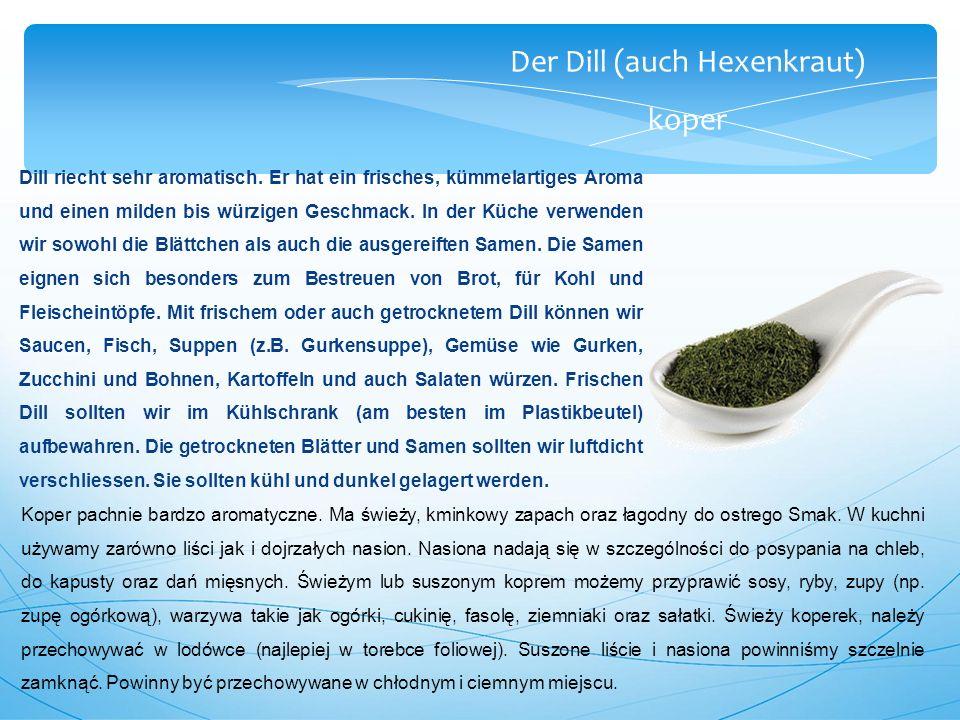 Der Dill (auch Hexenkraut) koper Dill riecht sehr aromatisch.