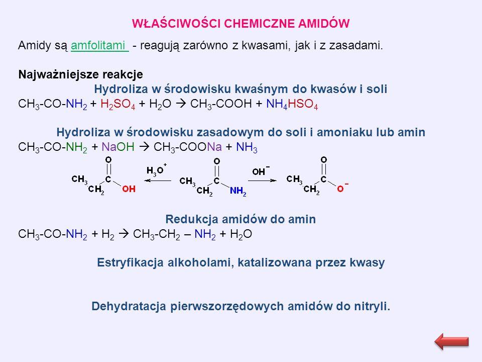WŁAŚCIWOŚCI CHEMICZNE AMIDÓW Amidy są amfolitami - reagują zarówno z kwasami, jak i z zasadami.