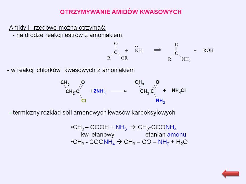 OTRZYMYWANIE AMIDÓW KWASOWYCH Amidy I--rzędowe można otrzymać: - na drodze reakcji estrów z amoniakiem.