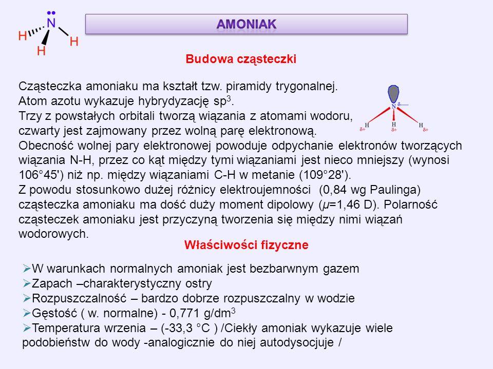 Cząsteczka amoniaku ma kształt tzw. piramidy trygonalnej.