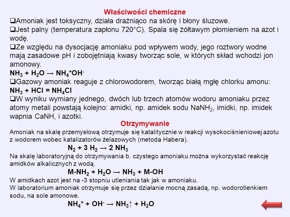 Otrzymywanie Amoniak na skalę przemysłową otrzymuje się katalitycznie w reakcji wysokociśnieniowej azotu z wodorem wobec katalizatorów żelazowych (metoda Habera).
