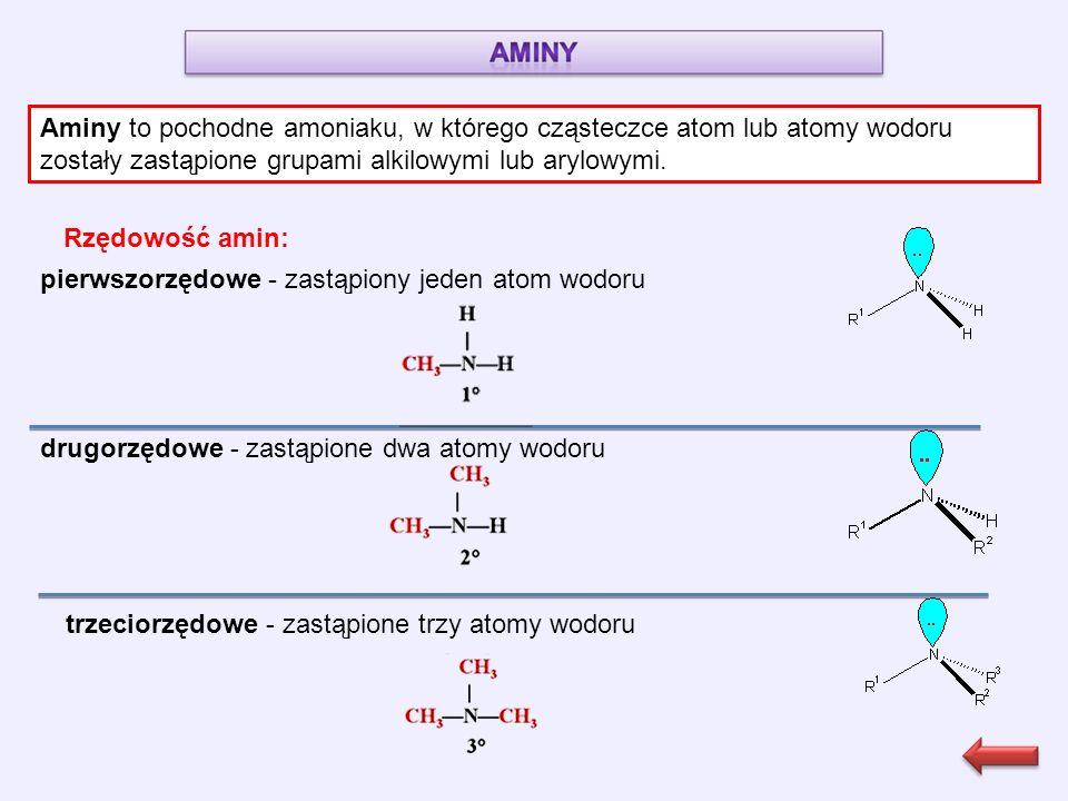 Aminy to pochodne amoniaku, w którego cząsteczce atom lub atomy wodoru zostały zastąpione grupami alkilowymi lub arylowymi.
